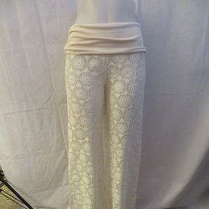 ELAN CREAM CROCHET SWIM COVER-UP PANTS M